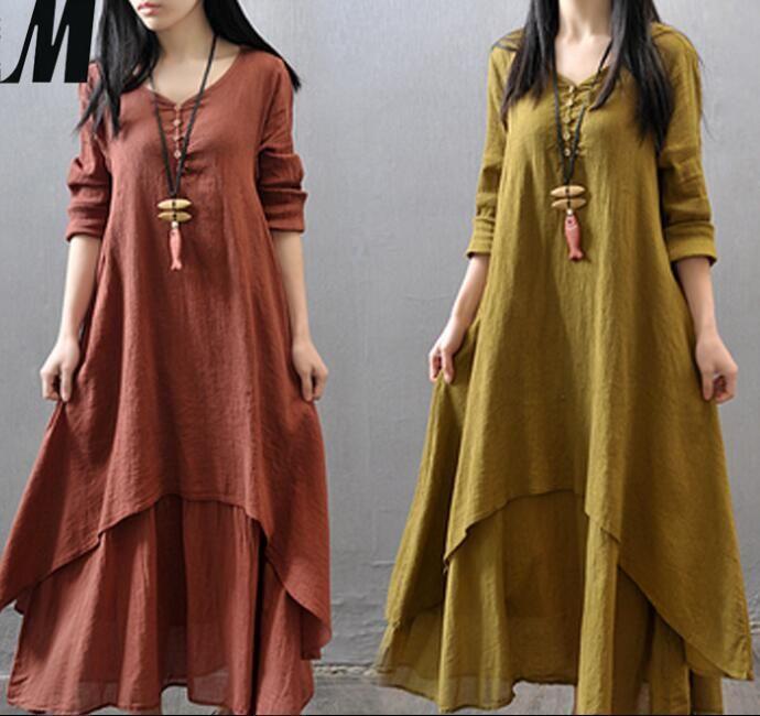 007aefdf878 Wholesale 2018 Women Casual Solid Spring Autumn Dress Loose Full Sleeve V  Neck Button Dress Cotton Linen Boho Long Maxi Dress Vestidos Women S Dresses  Knit ...