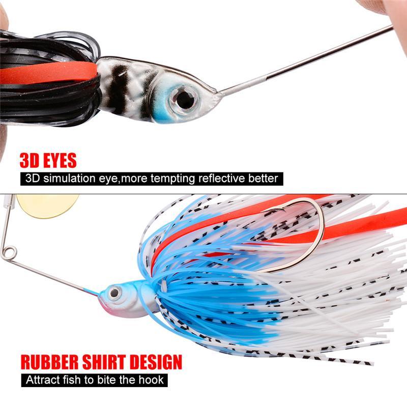 Новый высокий доставленных металла Spinner Buzzbit крюк 15 г 6 цветов Рыбалка Spinnerbaits воблеры креветки бас Sipner приманки