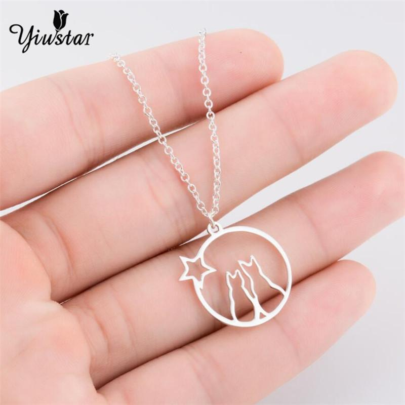 yiustar fashion cat moon pendant necklace charm cat necklace for pet lucky jewelry for women couple wedding statement pendant necklaces cheap pendant