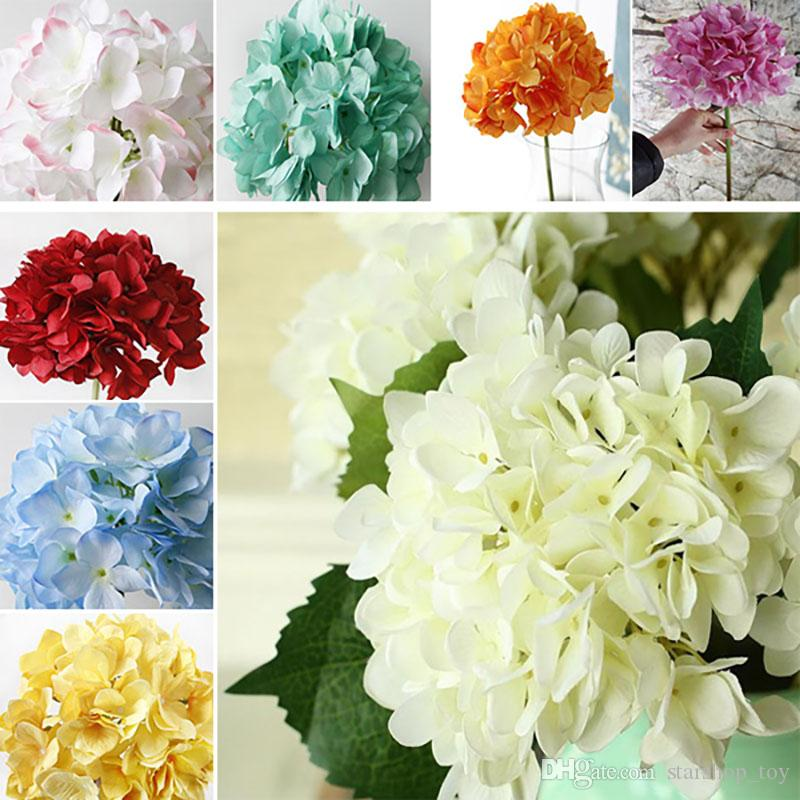 2019 New Artificial Hydrangea Big Silk Flower White Red Bouquet For