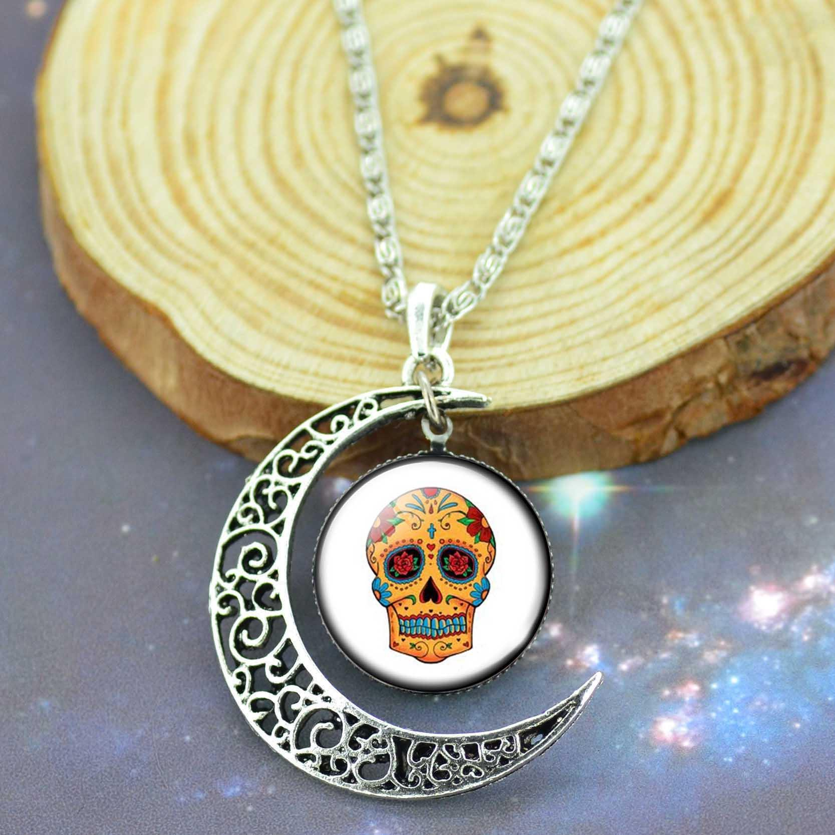 LIEBE ENGEL Mexico Sugar Skull Jewelry Sets For Women Gift Earrings Bracelet Moon Statement Necklace Sets Vintage Silver Color