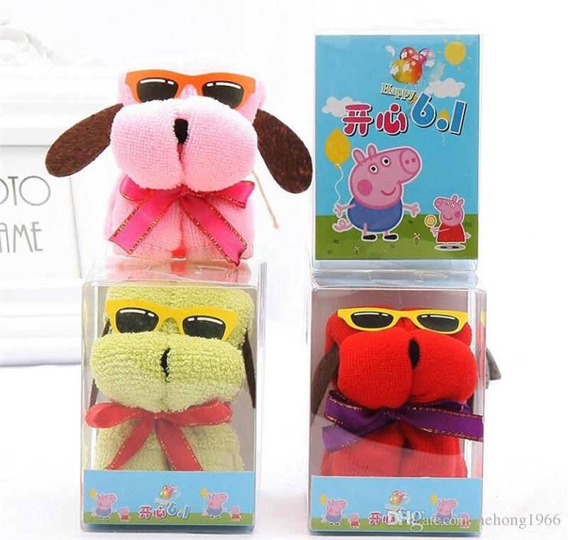 20 cm * 20 cm Yavru Kek Havlusu Pamuk Mikrofiber PVC Kutusu Düğün Köpek Modelleme Havlu Yaratıcı Peluş Oyuncaklar Doğum Günü Hediye Süslemeleri 1 3mx Y