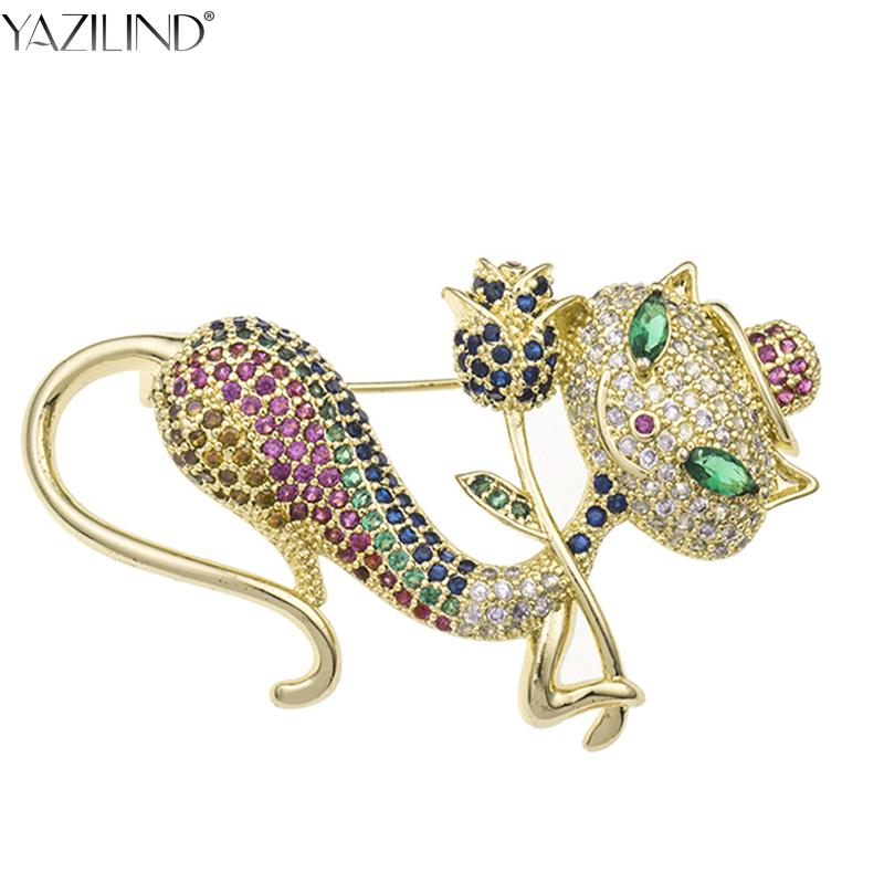 27136d619e7c6 YAZILIND Elegant Kitten with Rose Brooch Colorful Crystal Sexy Cat Animal  Brooches Hijab Pins Clothing Accessories Brooches Cheap Brooches YAZILIND  Elegant ...