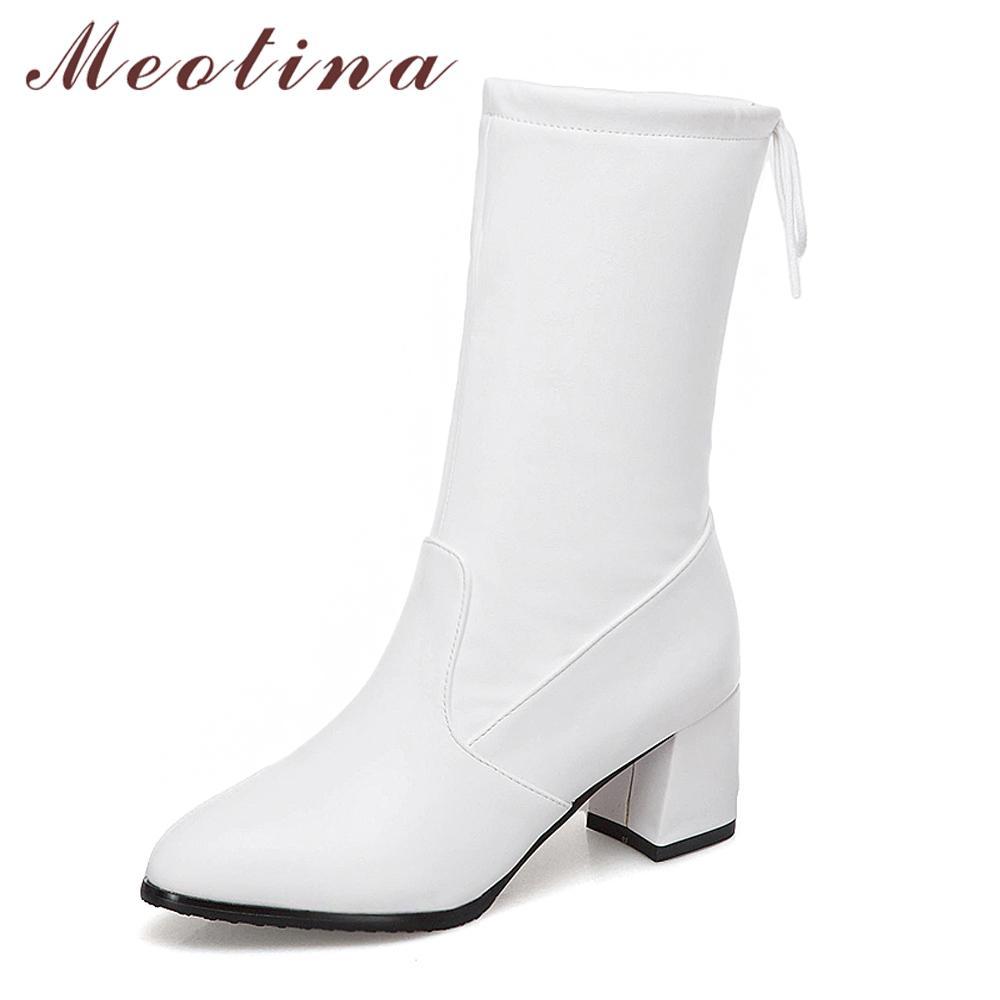 dd396111b Compre Meotina Meados De Bezerro Botas Sapatos Mulheres Apontou Toe De  Salto Quadrado De Inverno Botas De Moda Arco Feminino Calçado Outono Branco  Preto ...