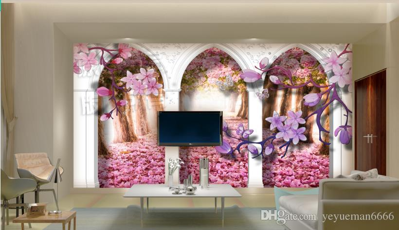 Papel pintado mural 3d europeo Papel pintado estereoscópico 3d europeo Ramas de Sakura papel tapiz mural wallpaper-for-walls-3-d