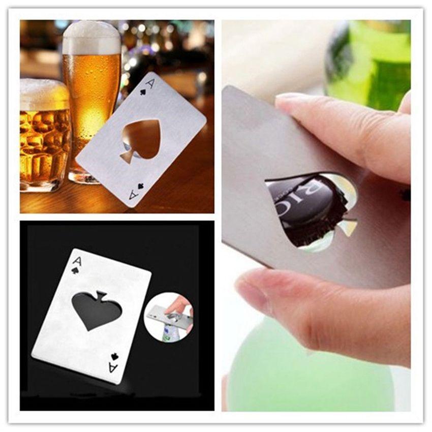 Ouvreur de bouteille en acier inoxydable, barre de cuisine Poker jouant à la carte des outils de pique, mini-carte de crédit ouvre-porte GGA112