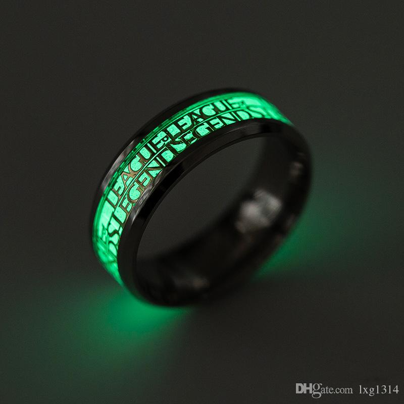 League of Legends Game Surround Fluorescent Ring LOL Stainless Steel Ring Fashion Ring Titanium Steel Ornaments Fan Souvenirs