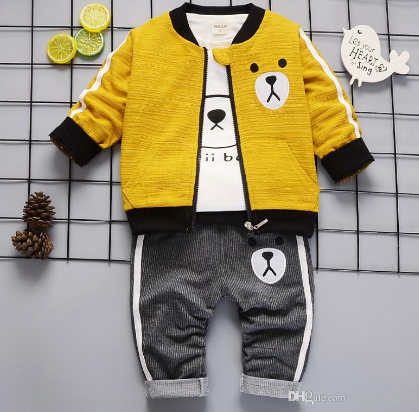 bbd7f94da95e9 Children Boy Clothes Tracksuit for Boys Sport Tops+Hooded Coat + ...