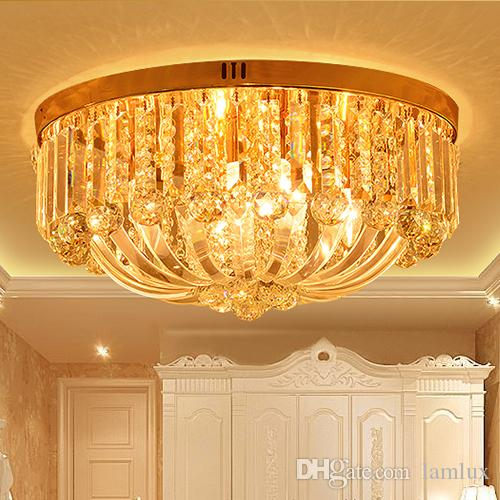 Crystal Ceiling Chandelier Luxury Royal European Round Classic Led - Orange chandelier crystals