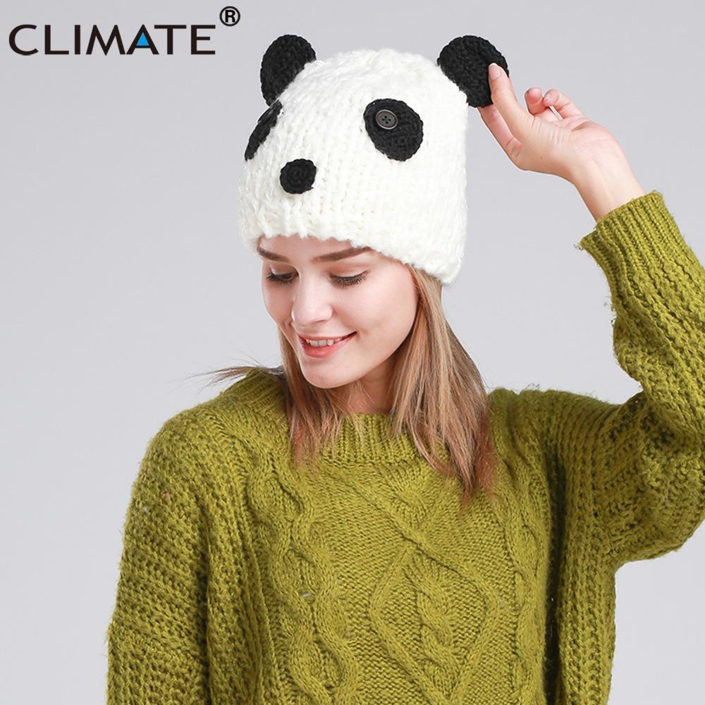 b39927b7fce42 CLIMATE Halloween Costume Panda Beanie Hat Cap Panda Winter Warm Knitted Hat  Beanie Women Cute Funny Hallowmas Stocking Cap Baby Sun Hat From Jutie