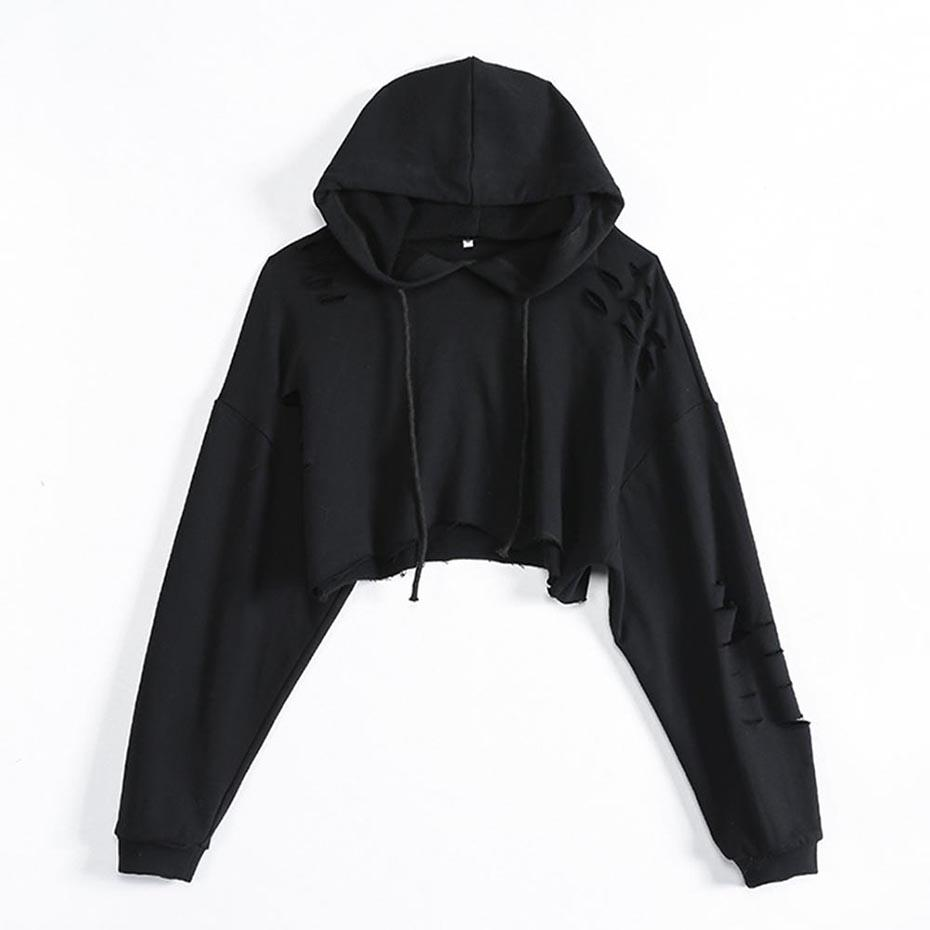 Young17 Women s Hoodie Batwing Sleeve Hooded Hole Spring Fall Plain ... 1feb818287