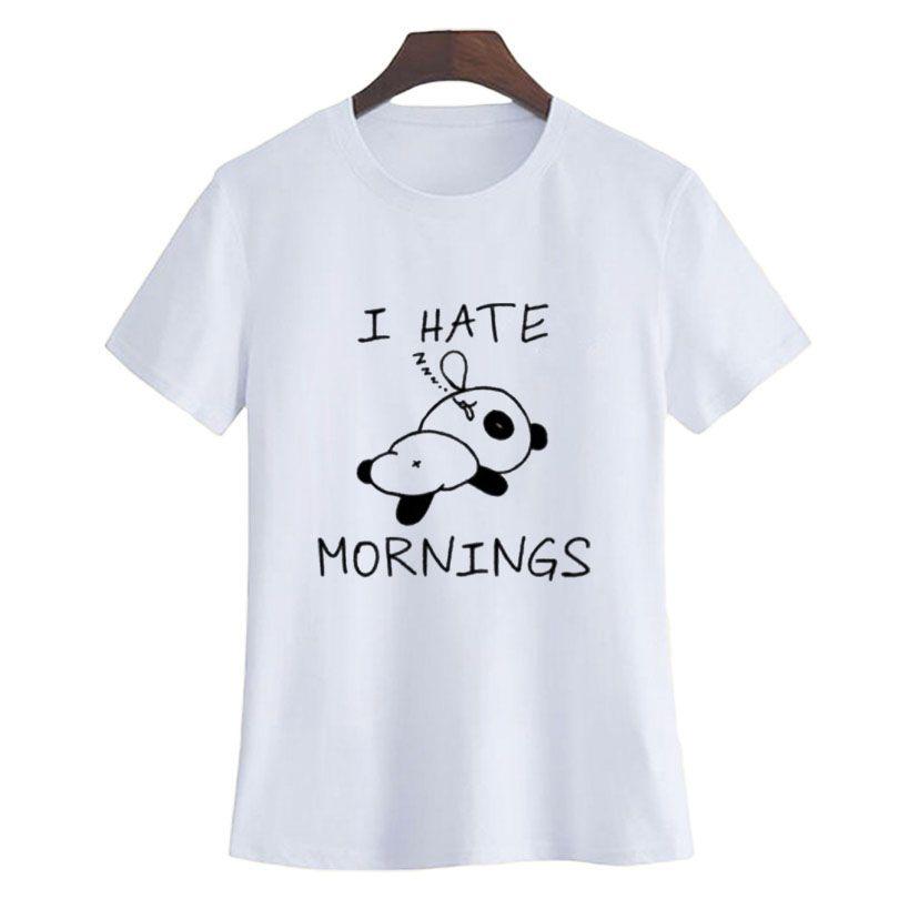 9eac9cfa86dae8 Women S Tee I Hate Mornings Comfy Cotton Tee Shirt Funny Sayings T Shirt  Cute Panda Printing Crewneck T Shirt Women Hipster Lazy Slogan Cool Tshirt  Designs ...