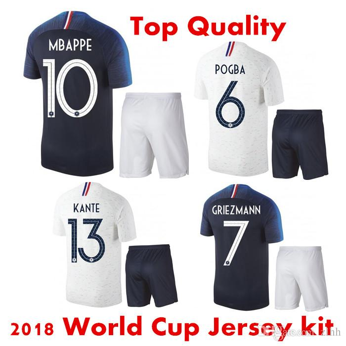 e04ca2ed3 3AAA+ 2018 World Cup Soccer Jersey Set Mbappé Pogba National Team Home Blue  Griezmann Away White French Football Shirt Kit Maillot De Foot Canada 2019  From ...