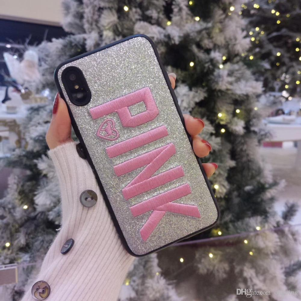 PINK Cover Fashion Design Glitter 3D Embroidery Love Pink Phone Case For iPhone X, iPhone 8, 7, 6 Plus For Samsung S9 S9 plus 9+ DHL