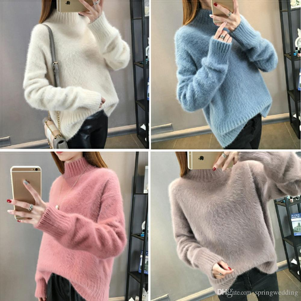 2019 2018 Warm Mink Cashmere Soft Sweaters And Pullovers Women Autumn  Winter Sweater Turtleneck Sueter Mujer Pull Femme Pullover Tops FS5703 From  ... ab335c964