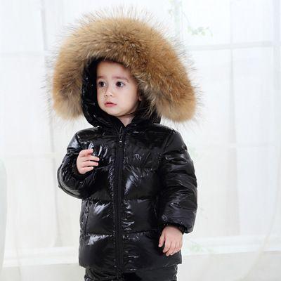 bfc904b22 FTLZZ Winter Shiny Coat Kids Real Large Raccoon Fur Collar Duck Down ...