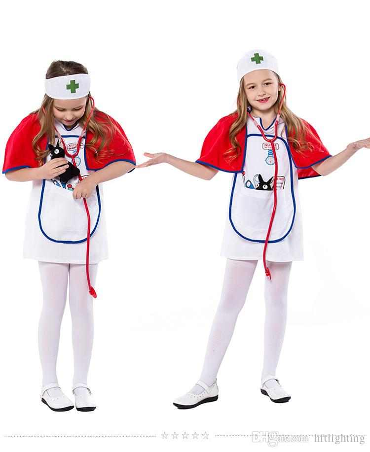 New Girls White Nurse Costumes Cosplay With Red Opera Cape For Children Halloween Game Party Dress
