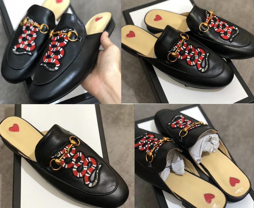 새로운 뮬 Princetown 남성 여성 모피 슬리퍼 뮬 플랫 정품 가죽 디자이너 패션 금속 체인 여성 캐주얼 신발 미국 5-12