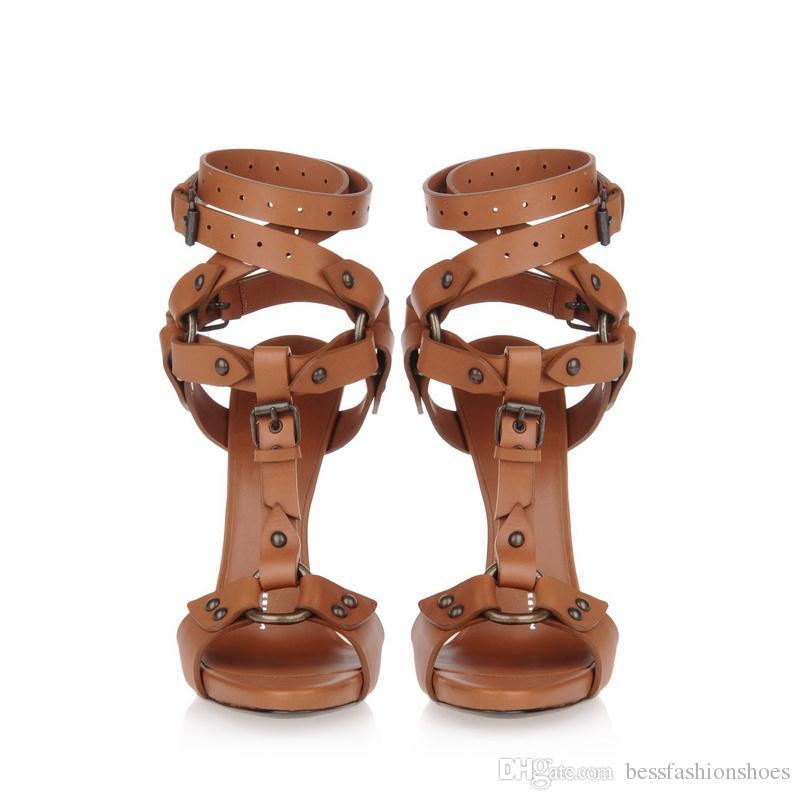 Schwarze Gladiator Stiletto Ferse Sandalen Offene Zehe Ankle Riemchen Brown Party Sandalen Thin High Heels Party Frauen Schuhe Mujer Zapatos Schuhe Frau