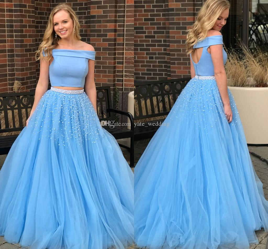 Baby Blue Plus Size Prom Dresses Bateau Neck Off The Shoulder Satin Tulle  Two Piece Prom Dresses Fuchsia Ball Gown Party Dresses