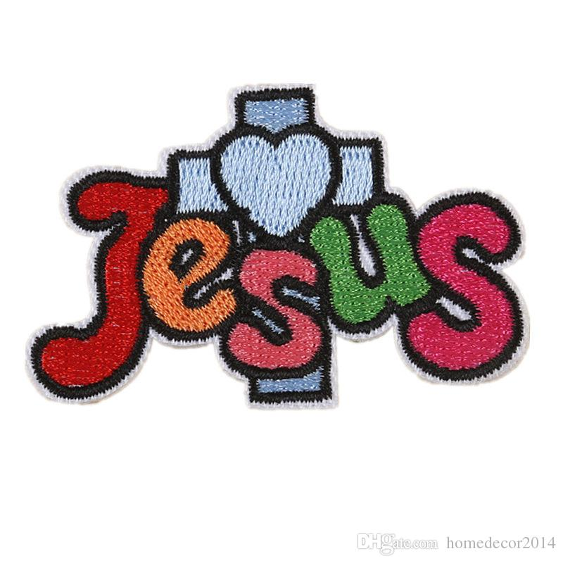 2019 embroidery letter patch jesus cross sew iron on embroidered patches badges for bag jeans hat t shirt diy appliques craft decoration from homedecor2014