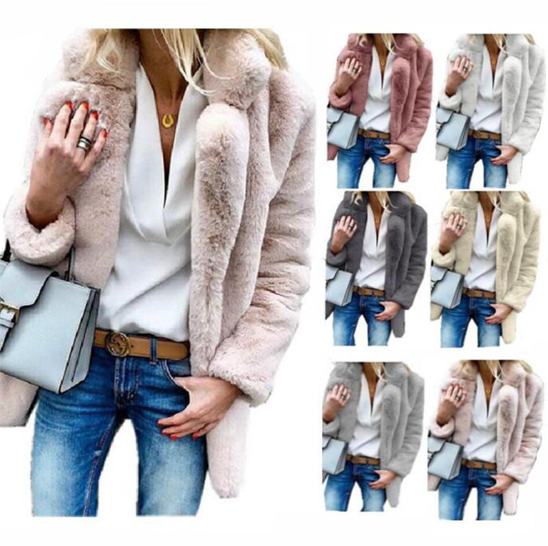 Acheter S 3XL Femmes Sherpa Manteau Longue Polaire Fausse Fourrure Manteaux  Revers Cou Hiver Automne Épais Chaud Outwear Cardigan Vestes Marque Mode ... 6c5e98cf083
