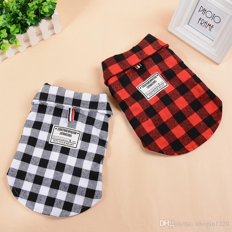 115ab5b5a 2019 NEW Pet Dog Clothes Shirts Plaid Jackets Puppy Vest For Small ...