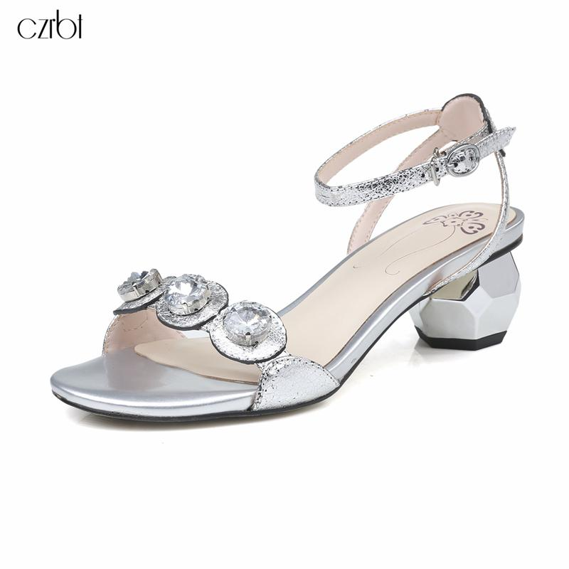 f77d4d3164593c Wholesale 2018 Summer Fashion Rhinestone Sandals 2cm Manual Cowhide Make  Metallic Luster Luxurious Elegant Rhinestone Women Shoes Birkenstock Sandals  Shoes ...