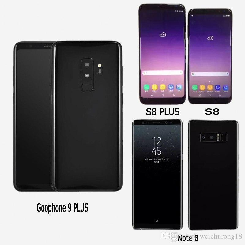 Free DHL Goophone S8 PLUS Note 8 Unlocked Cell Phones quad core 16G rom 6.2inch full Screen Show 128GB fake 4g lte Android Smartphone