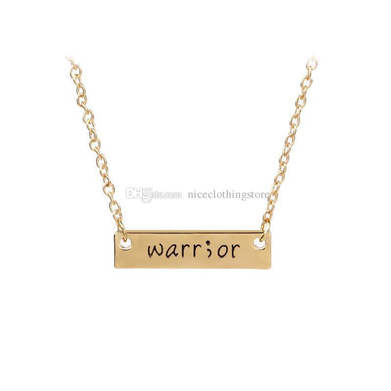 Cancer Survivor Suicide Awareness and Prevention Inspirational Handstamped Warrior Bar Stick Semicolon Healthy Amulet statement Necklace