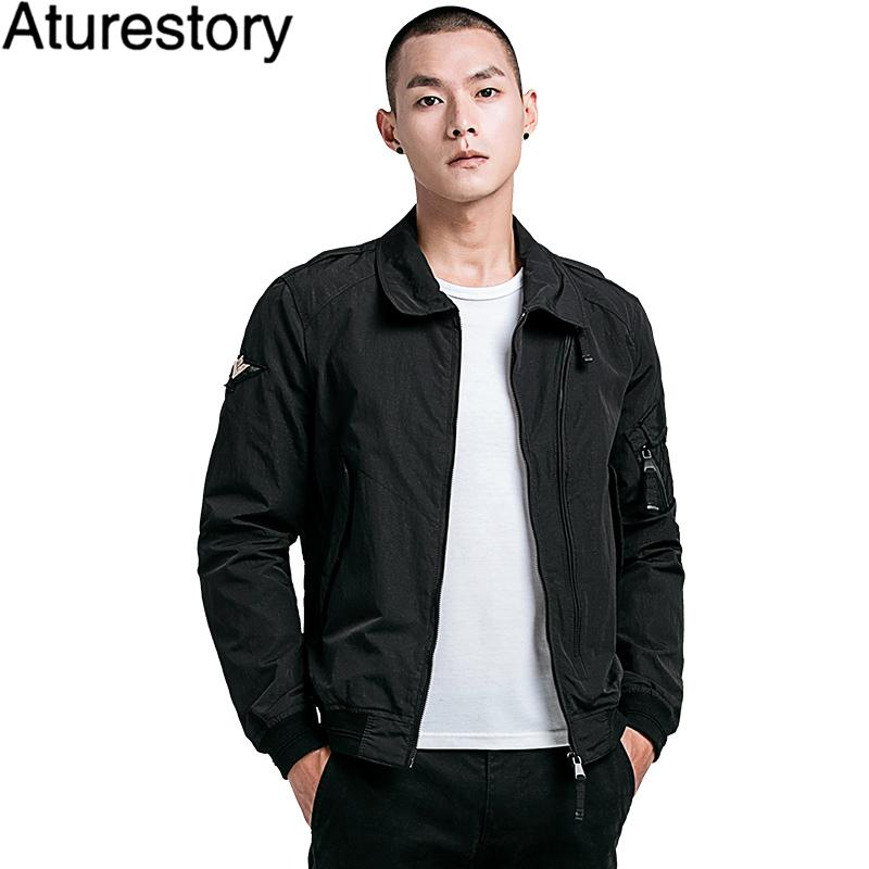 Wholesale Spring Autumn Mens Bomber Jackets Solid Turn Down Collar