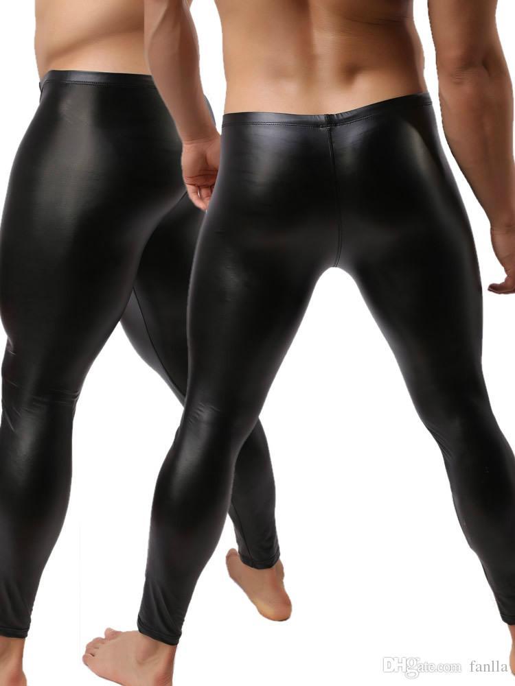 ebcb077b018ef1 ... Pantaloni in pelle sintetica Moda Uomo Pantaloni lunghi neri Sexy e  novità Calzamaglia muscolosa skinny Leggings ...