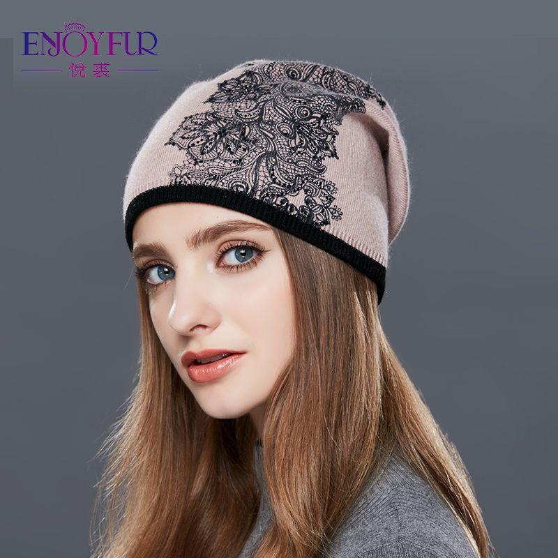 29e9832e ENJOYFUR Wool winter hat female Flowers Embroidery Knitted hats for women  warm gravity falls cap women's Thick skullies beanies