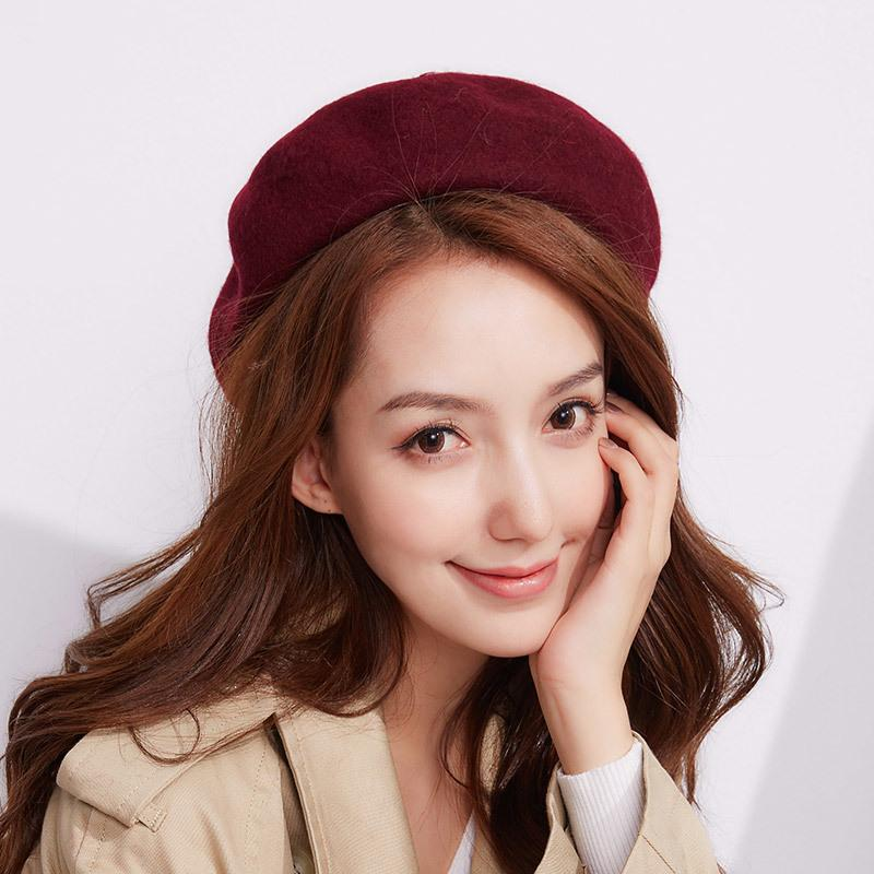 bd924599654 2019 2017 Winter Pure Color Berets Hat Department 100% Wool Beret Hat For Women  Hats Warm French Artist Ski Cap Japanese Girl From Harveyi