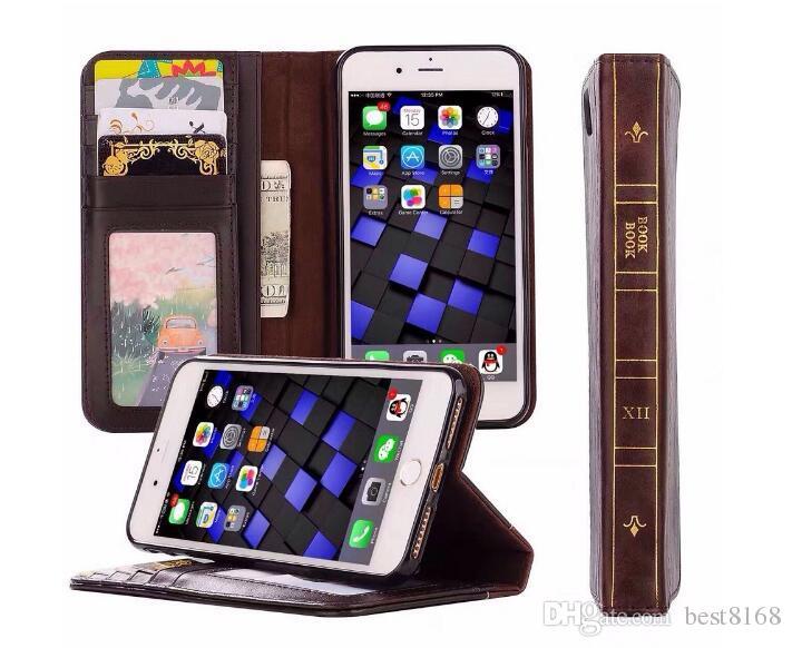 Retro antigo do vintage velho flip livro estilo carteira de couro case para iphone xs xs max 6.1 6,5 x 6 5 5S SE Galaxy Nota 9 S9 S8 Mais Suporte Da Bolsa