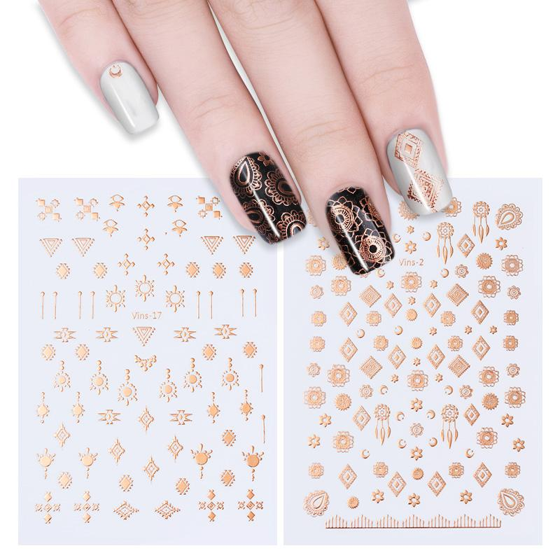 Metallic Rose Gold 3D Nail Stickers Tribal Dreamcatcher Nail Art Adhesive Transfer  Sticker Water Slide Tips Sticker Airbrush Nails Nail Stamp From Caiyecao ad4fbaf49445