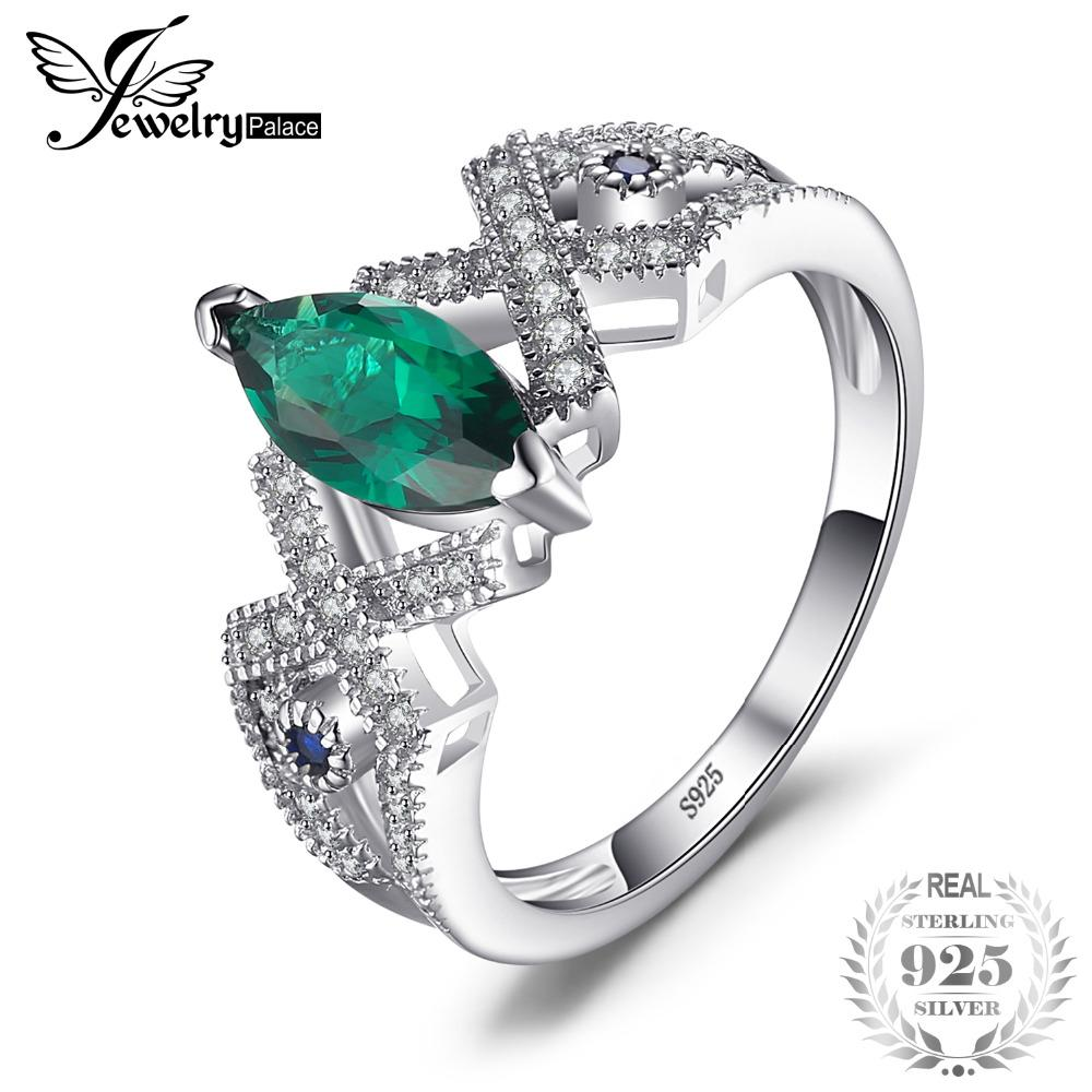 0bfbf6994486 JewelryPalace Vintage 2.7ct Created Emerald   Blue Spinel Ring ...