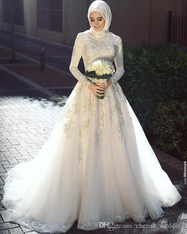 Elegant 2018 High Neck Lace Muslim Wedding Dresses Long Sleeve Appliques Country Style Bridal Gown Sweep Train For Saudi Arabic Custom Made