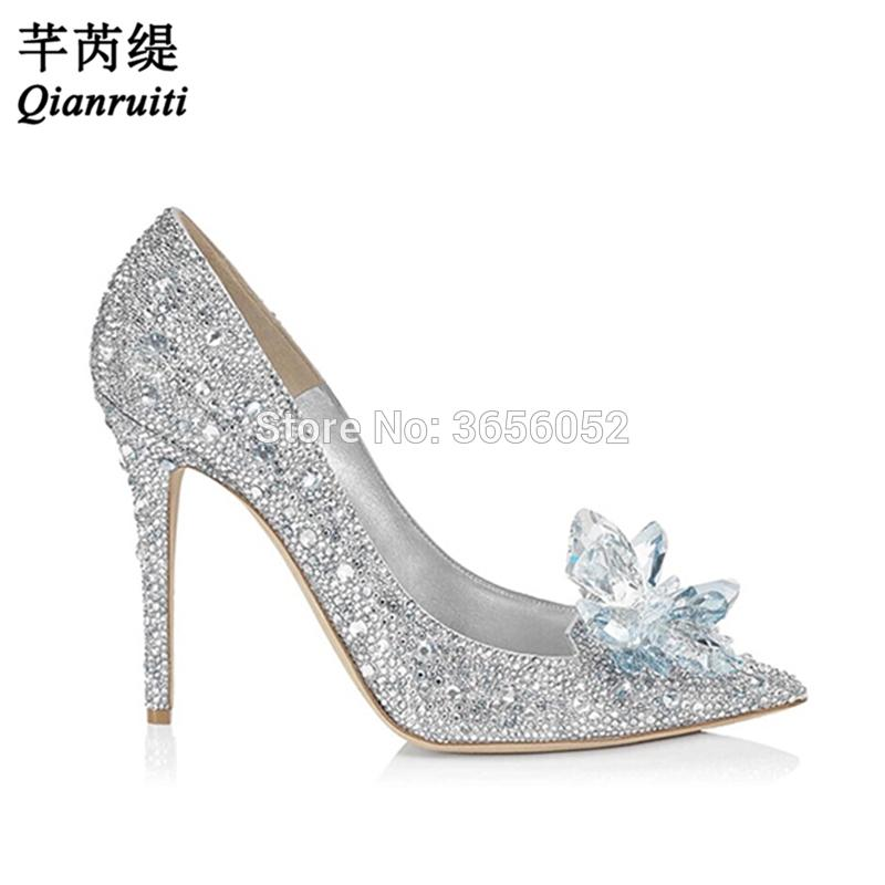 f35fd9a13f3 Wholesale Bling Crystal Flower Silver Cinderella Princess Shoes Rhinestone  High Heels Ladies Glitter Pumps Wedding Shoes Bride Slippers For Men Loafer  Shoes ...