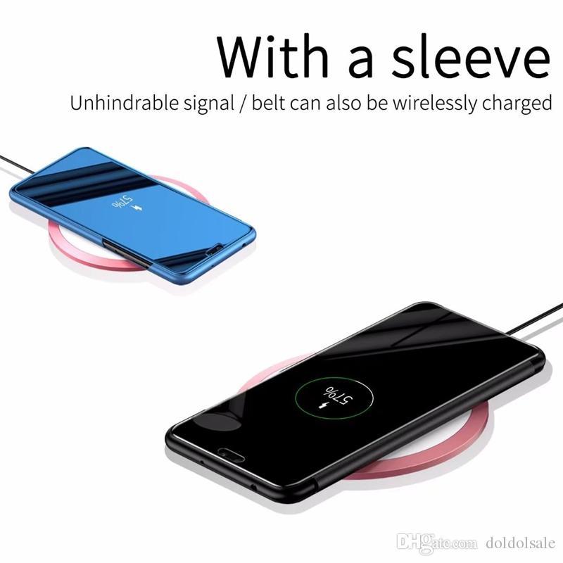 Espelho de luxo Clear View Case para Huawei P20 P20 Pro Desfrute de 8 8E 8 Plus Cobertura Do Telefone Chapeamento Base Vertical Stand