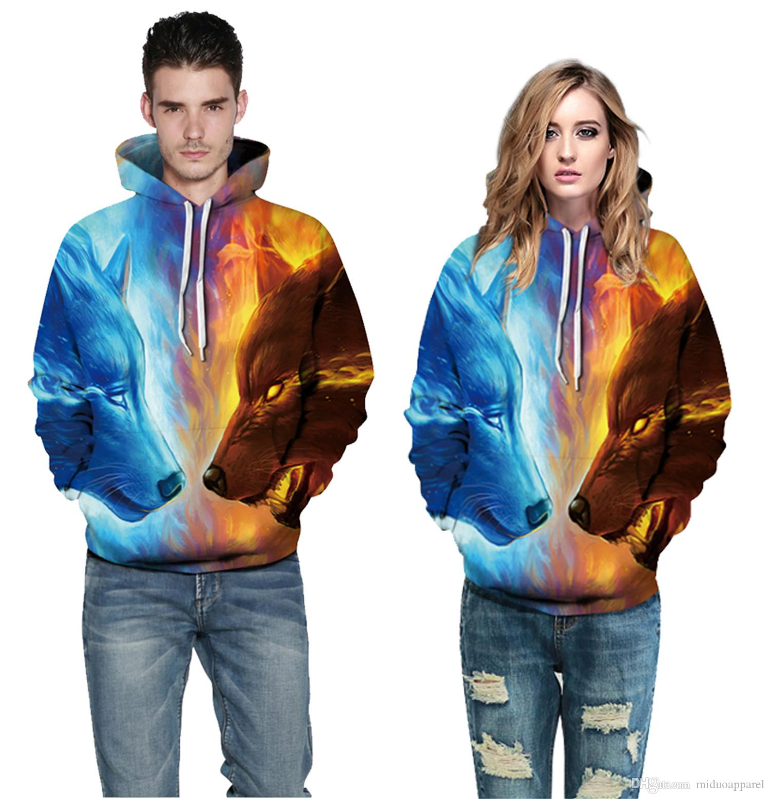 a5c6e4b043a4 Unisex 3D Fashion Wolf vs Wolf Pattern Pullover Hoodie Polyester Men and  Women Hot Sport Sweatshirt Free Shipping Size S-3XL