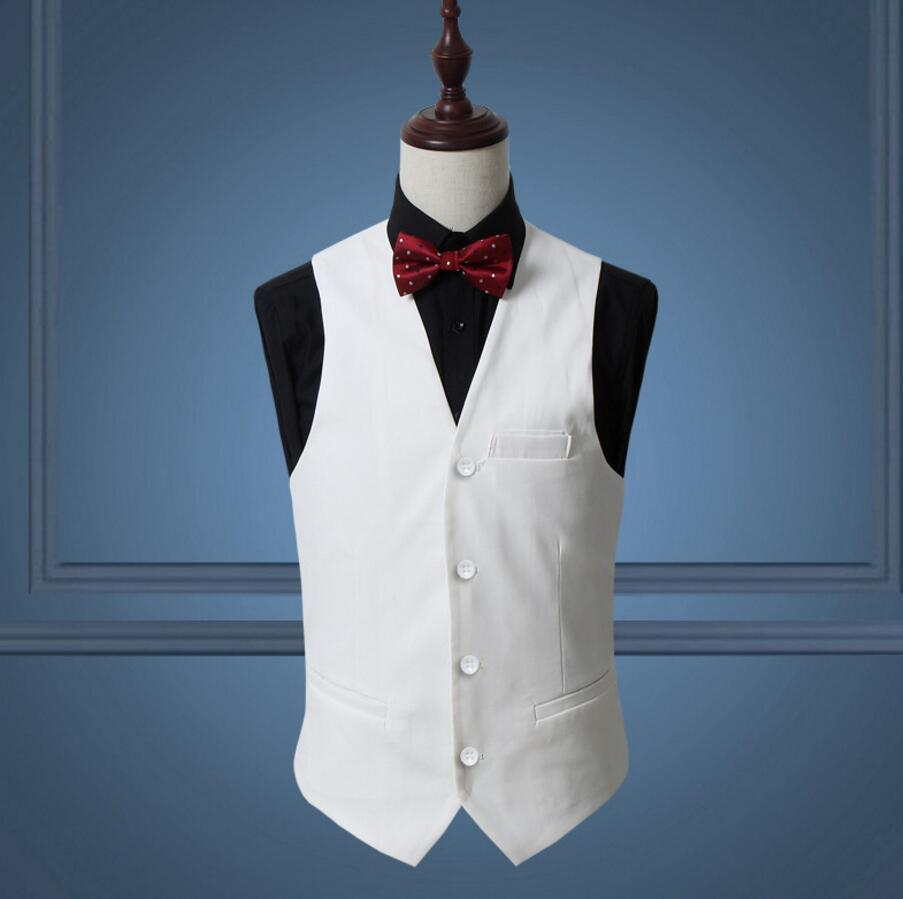 2018 Red Classy Men Suit Vest Solid Black White Single Breasted Slim ...