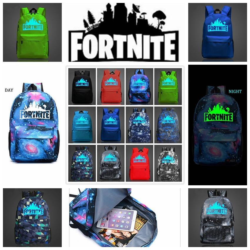 Fortnite Backpacks 12 Colors Fortnite Noctilucous Luminous Backpacks For Boys Girls Fortnite Battle Royale Schoolbag Home Storage Bags 5pcs