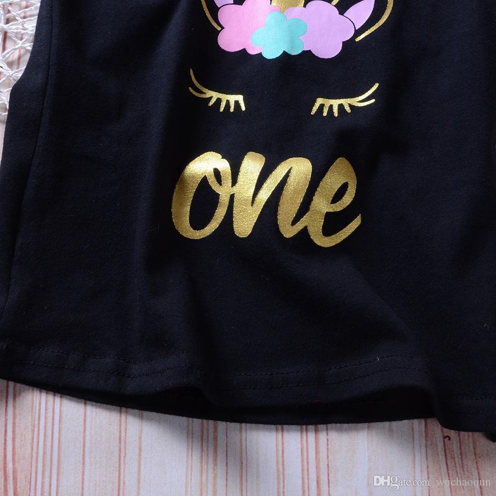 Kleinkind Kinder Baby Mädchen Einhorn Kleidung Set Cartoon Weste T Shirt Pailletten Bogen Shorts Outfits Geburtstag Kostüm für Mädchen