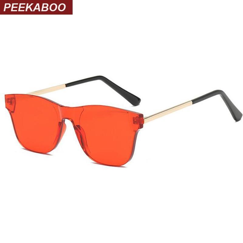 69371f041b Peekaboo Transparent Candy Color Sunglasses Women Rimless 2019 Red Black  Square Sun Glasses For Men One Lens Uv400 Designer Glasses Sunglasses Uk  From ...