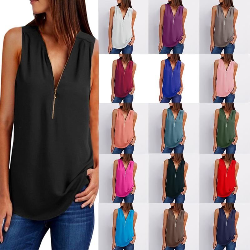 962ac903fd0 2019 Plus Size 5XL Women Casual Loose Chiffon Blouse 2018 Black Solid  Sleeveless V Neck Zipper Shirt Blouses Summer Tops For Women Clothing 231  From ...