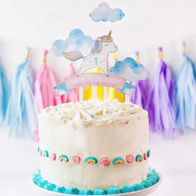 2018 Rainbow Unicorn Cake Topper Baby Shower Birthday Party Decor Children Kids Christmas Decorating Supplies 899616 From Caronline