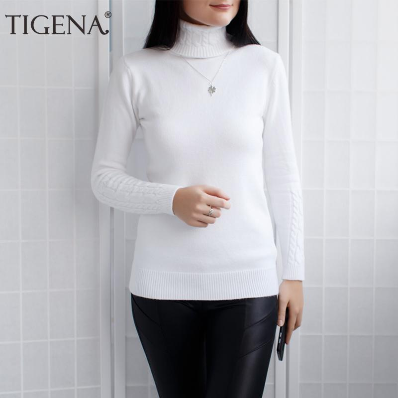 9fbb1025f1 2019 TIGENA Sweater Women 2018 Winter Turtleneck Thick Warm Long Sleeve  Knitted Pullover And Sweater Female Black White Green Jumper From  Ceciliasa