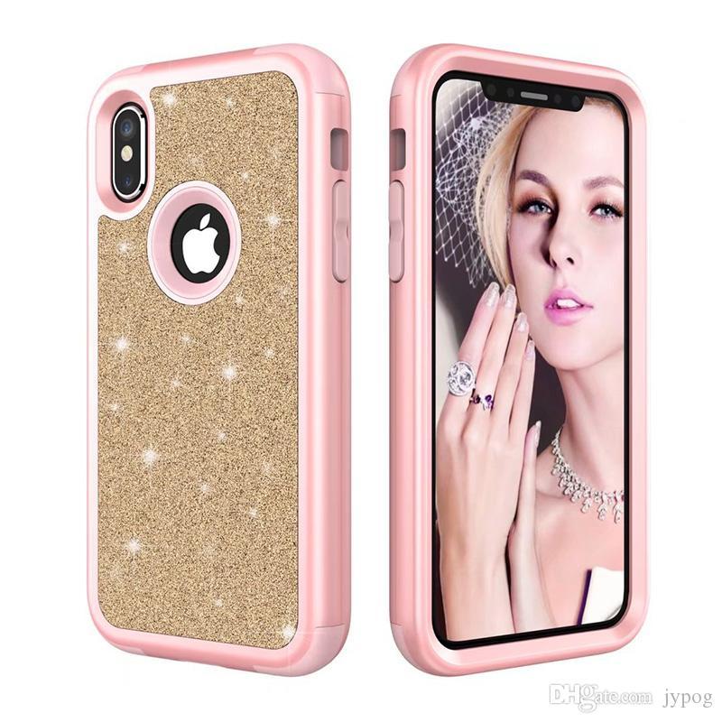 IPhone XS XR Durumda 3in1 Defender Durumda Flaş Tozu Geri Glitter Sparkly Bling Telefon Kılıfı için iPhone XS MAX