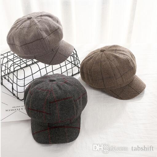 Acquista Moda Berretto Arte Femminile Artista Cappello Versione Coreana  Delle Donne Autunno E Inverno Vintage Plaid Cappello Ottagonale A  26.94  Dal ... ee0242dc577e